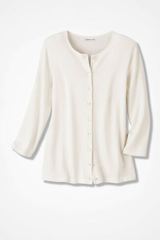 Silk/Cotton Cardigan, Ivory, large
