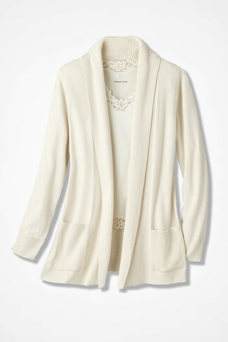 Mixed Rib Open Cardigan, Ivory, large
