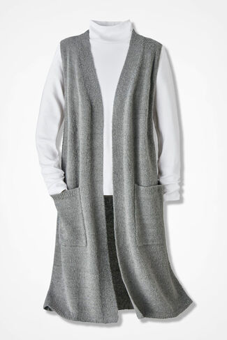 Bouclé Duster Vest, Heather Grey, large