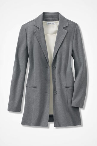 New Ponte Perfect® Boyfriend Jacket, Mid Heather Grey, large