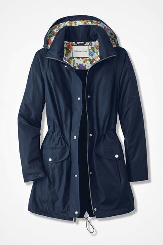 Hidden Blossoms Anorak, Navy, large
