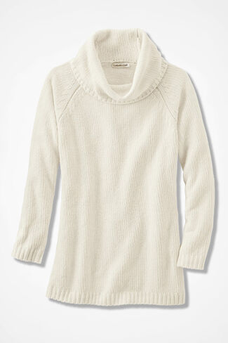 Oversized Chenille Sweater, Ivory, large