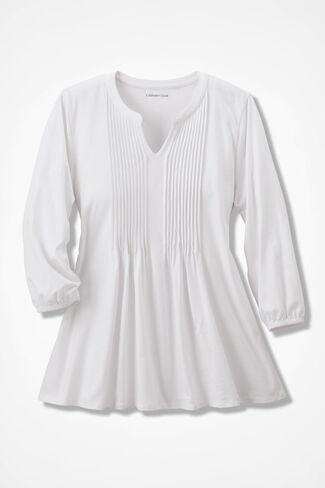 Pintuck Knit Tunic, White, large