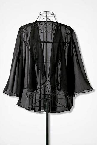 Chiffon Soirée Jacket, Black, large