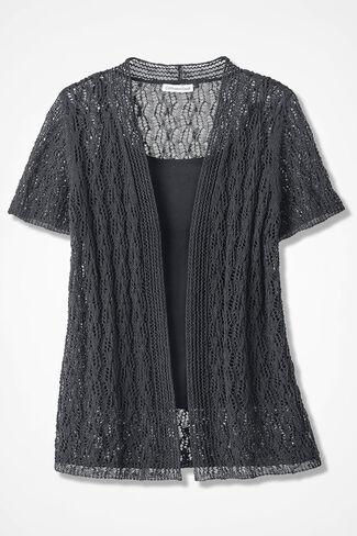 Breezy Open Pointelle Cardigan, Black, large