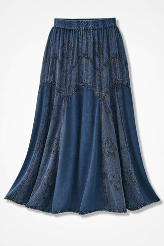 Embroidered Jacquard Skirt, Indigo, large