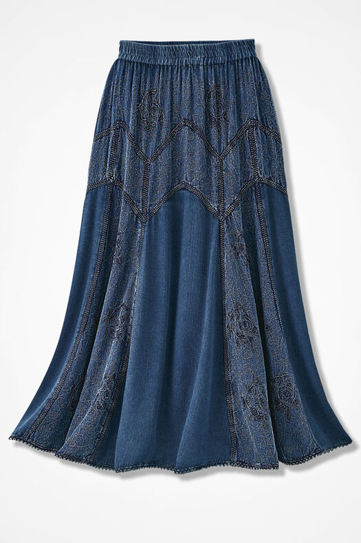 Embroidered Jacquard Skirt, Indigo, large
