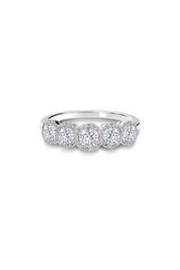 Center Of My Universe Round Halo 5 Stone Ring (0.99 ct)