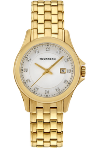 Ladies Gold Tone White Diamond Dial