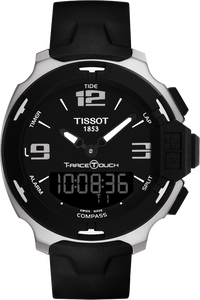 T-Race Touch Men's Black and Silver Quartz Watch With Black Synthetic Strap