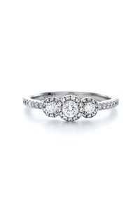 Center of my Universe Round Halo 3 Stone Ring (0.95 ct)