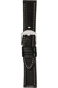 20 mm Black Vegetable Leather Strap
