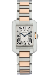 18K Rose Gold and Stainless Steel Tank Anglaise Quartz