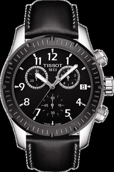 V8 Men's Quartz Watch - Black Dial With Black leather strap