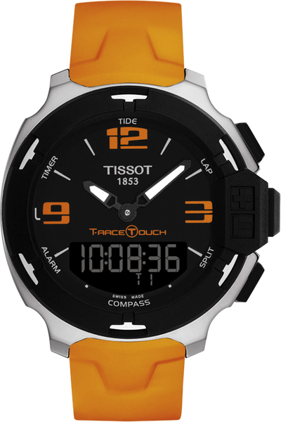 T-Race Touch Men's Black Stainless Steel Quartz Watch With Orange Strap