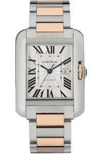 18K Rose Gold and Stainless Steel Tank Anglaise Automatic