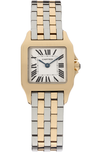 18K Yellow Gold and Stainless Steel Santos Demoiselle Quartz