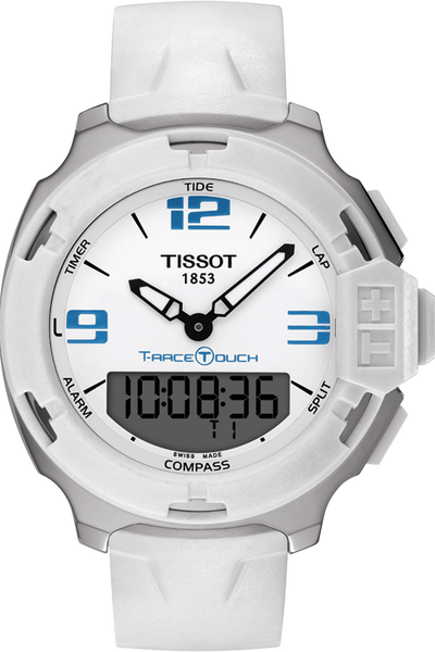 T-Race Touch White and Blue Quartz Watch With White Strap
