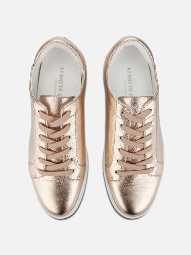 Womens Kam Leather Sneaker, ROSE GOLD