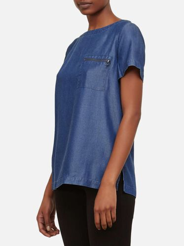 Zip Back Denim Top, MED WASH