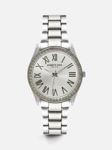 Classic Silver-Tone Round Watch, NO COLOR