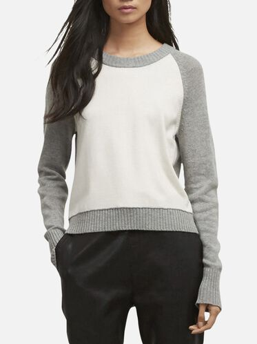 Back Zipper Pullover Sweater, HTR GR/SVR B, hi-res