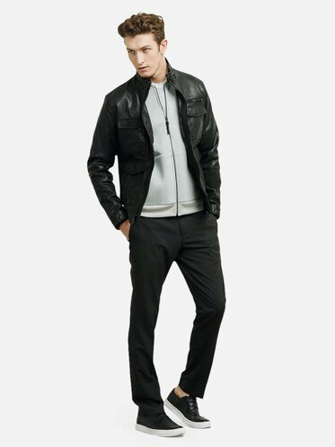 Leather Aviator Jacket, BLACK, hi-res