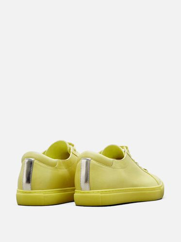Womens Kam Leather Sneaker, LEMON