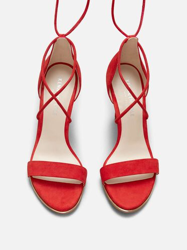 Berry Suede Ankle-Wrap Heel, RED