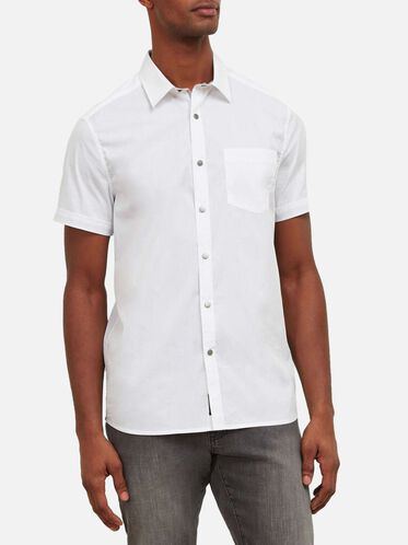 Short-Sleeve Snap Shirt, WHITE