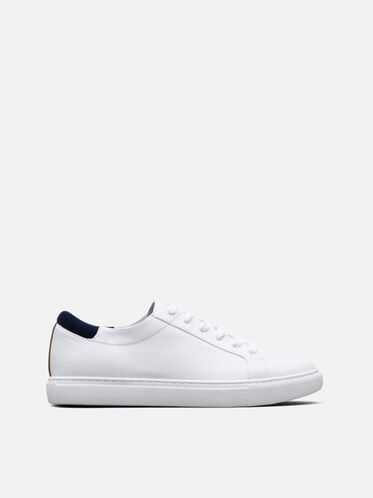 Kam Leather Sneaker, WHITE/NAVY, hi-res
