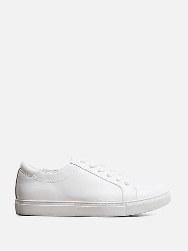Womens Kam Leather Sneaker, WHITE