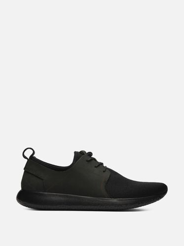 Nubuck Low Top Knit Sneaker, BLACK