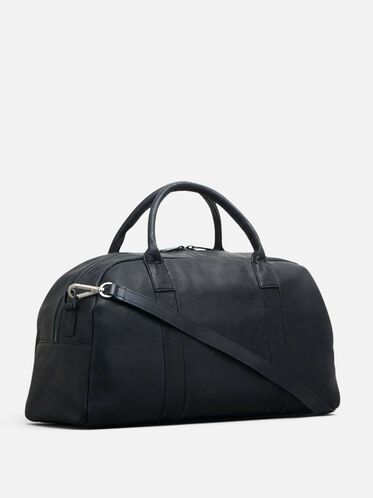 COLOMBIAN LEATHER SINGLE GUSSET DUFFLE, BLACK
