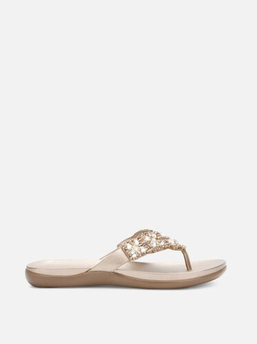 Glam-Athon Beaded Sandal, CHAMPAGNE