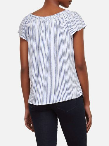 Off The Shoulder Smocked Striped Top, INDIGO STRP-