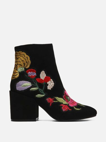 Reeve 4 Embroidered Floral Ankle Bootie, BLACK