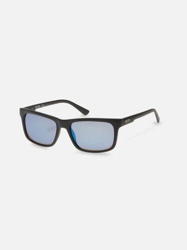 Matte Black Mirror Sunglasses, MBLK/BLUMR