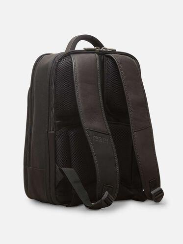 Leather Double-Gusset Backpack, BLACK, hi-res