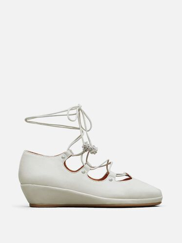 Nita Leather Lace-Up Wedge, CLOUD