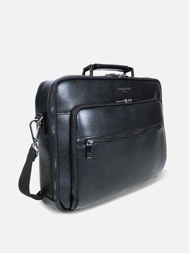 Saffiano Leather Single Gusset Computer Case, BLACK, hi-res