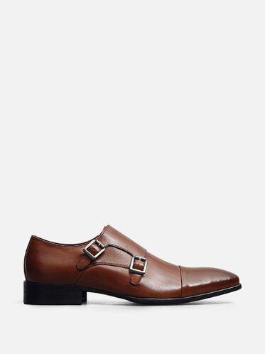Regal Bearing Leather Monk Strap Dress Shoe, COGNAC, hi-res