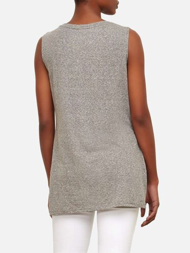 Knot Front Tunic, GREY HEATHER