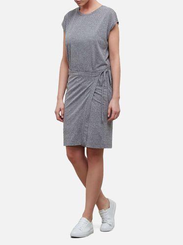Side Tie Wrap Dress, GREY HEATHER