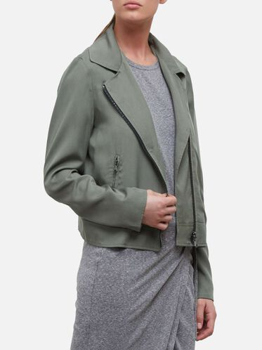 Zippered Moto Jacket, ARMY