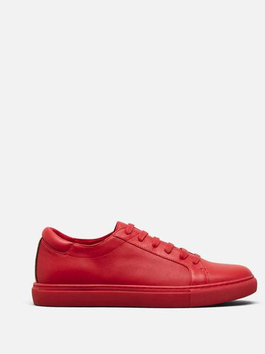 Womens Kam Leather Sneaker, RED