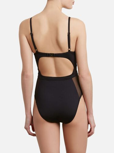 Sexy Solids Push Up One-piece, BLACK