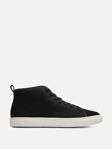 High Top Knit Sneaker, BLACK