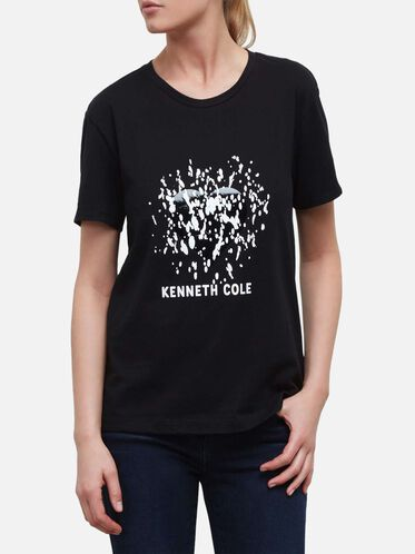 Splatter Heart Logo T-Shirt, BLACK