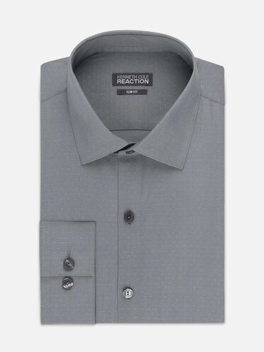 Dry-Tek Slim-Fit Dress Shirt, GREY
